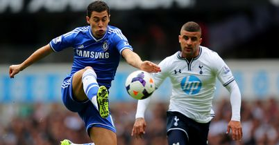 Eden Hazard: On ball for Chelsea as Tottenham's Kyle Walker watches on