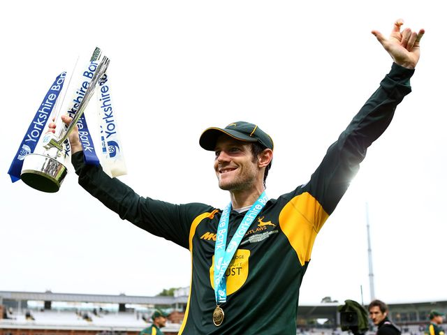 Outlaws captain Chris Read starts the celebrations
