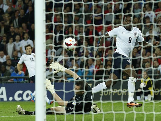 Danny Welbeck scores his second goal of the night