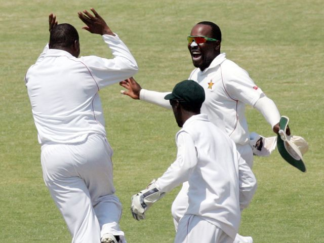 Hamilton Masakadza celebrates as Zimbabwe claim another wicket