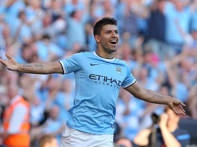 Sergio Aguero celebrates scoring his second goal