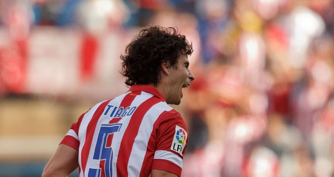 Tiago Mendes celebrates his goal for Atletico Madrid