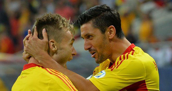 Ciprian Marica and Alexandru Maxim: Celebrate a Romania goal