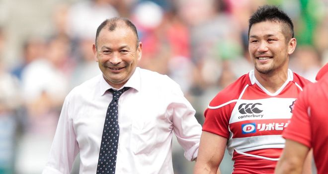 Japan coach Eddie Jones (L) in intensive care after suffering a stroke