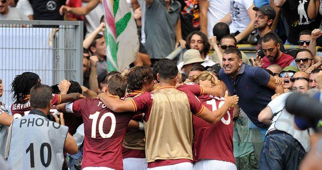 Roma celebrate Federico Balzaretti's derby opener