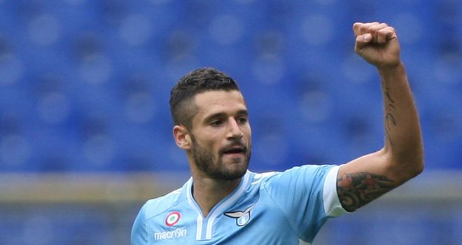 Antonio Candreva celebrates his goal for Lazio