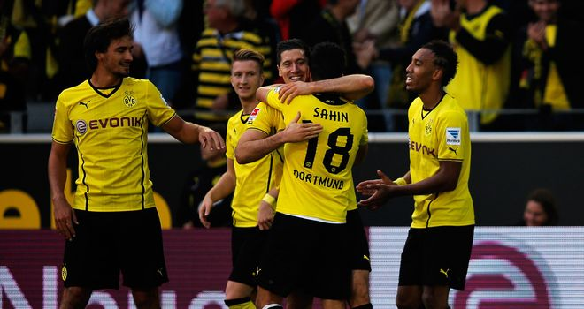 Robert Lewandowski celebrates with Borussia Dortmund players