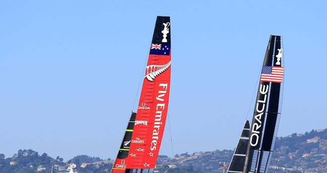 Team New Zealand won both of the opening races against Team Oracle USA on Saturday
