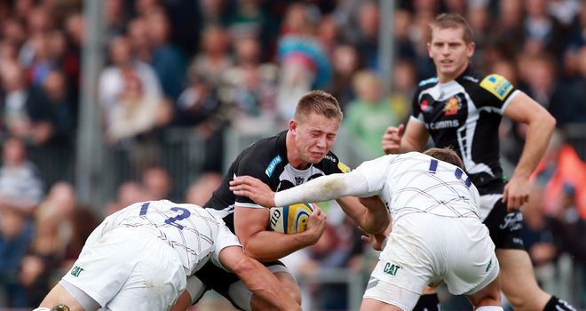 Sam Hill on the charge for Exeter