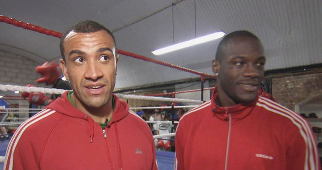 Richard Towers (L) with Deontay Wilder: The pair were the last men standing sparring Klitschko