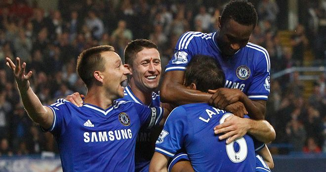Chelsea celebrate at Stamford Bridge