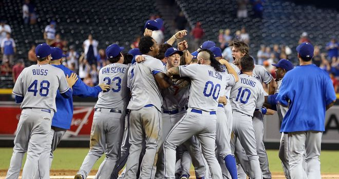 The Los Angeles Dodgers celebrate clinching the National League West title