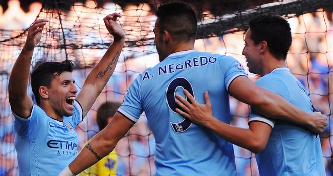 Sergio Aguero scored twice against United with two technically excellent volleys