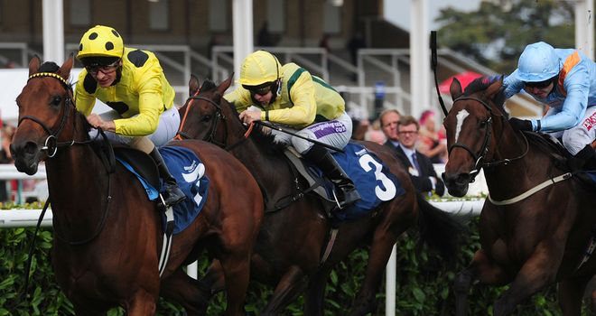 Nargys powers away from her rivals in the Sceptre Stakes