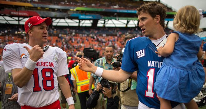 Eli and Peyton Manning working together