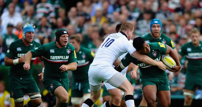 Manu Tuilagi on the charge against Newcastle Falcons