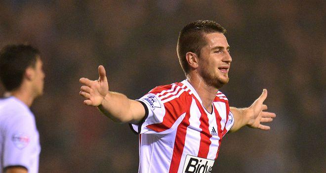 Valentin Roberge celebrates Sunderland's second of the night against Peterborough