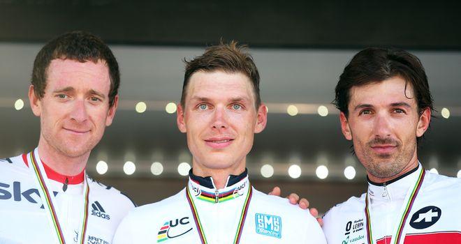 Bradley Wiggins (left): Joined Tony Martin (centre) and Fabian Cancellara (right) on podium