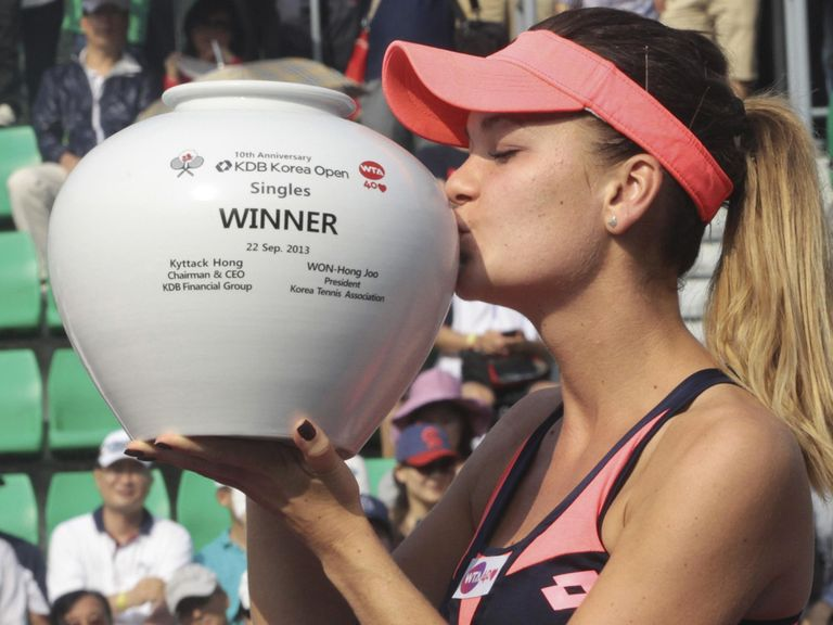 Agnieszka Radwanska celebrates her success