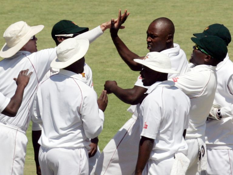 Zimbabwe celebrate a wicket against Pakistan in September in their last international fixture