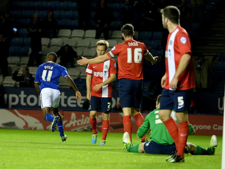 Lloyd Dyer celebrates his goal for Leicester