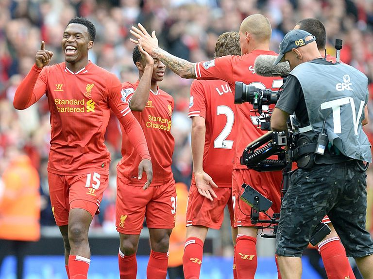 Daniel Sturridge celebrates Liverpool's win over United