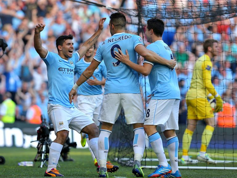 City celebrate their derby win on Sunday