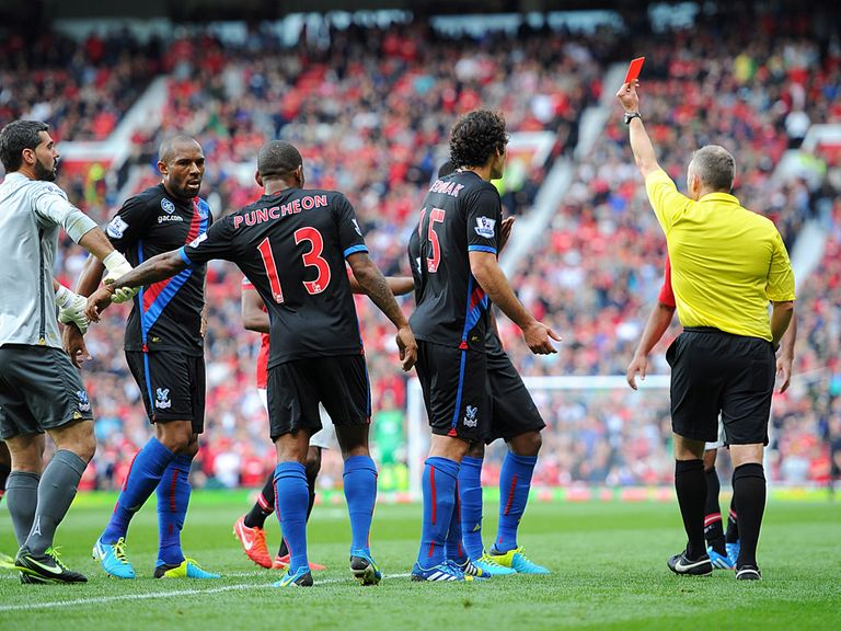 Palace's Kagisho Dikgacoi is sent off at Old Trafford