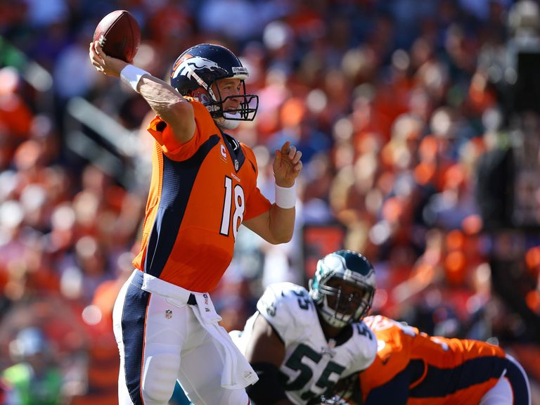 Peyton Manning in action for the Denver Broncos.