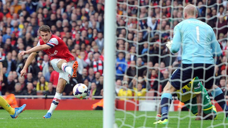 Aaron Ramsey: Scores Arsenal's third past John Ruddy
