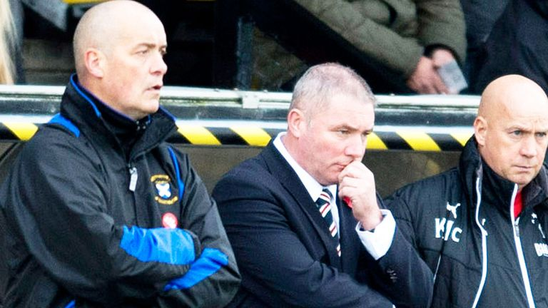 East Fife boss Willie Aitchison (l): Watches the action with Rangers counterpart Ally McCoist