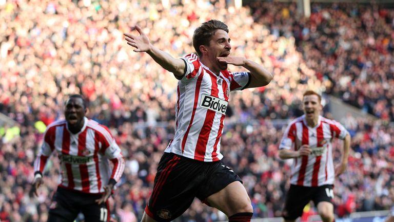 Fabio celebrates his winner at the Stadium of Light