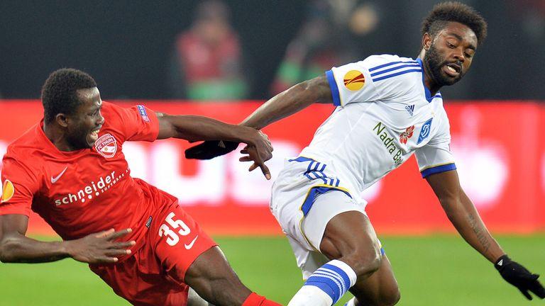 Sekou Sanogo and Lukman Haruna: Tussle for ball in Kiev