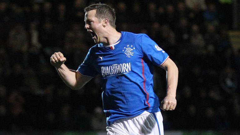 Jon Daly: Celebrates the goal that took Rangers into the final