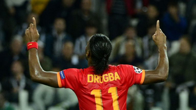 Didier Drogba: Celebrates his goal for Galatasaray at Juventus