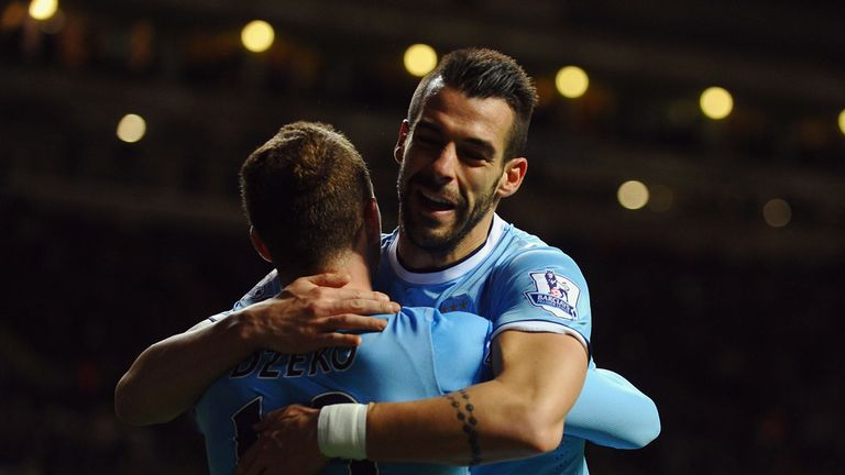 Alvaro Negredo: Celebrates his opener with Edin Dzeko