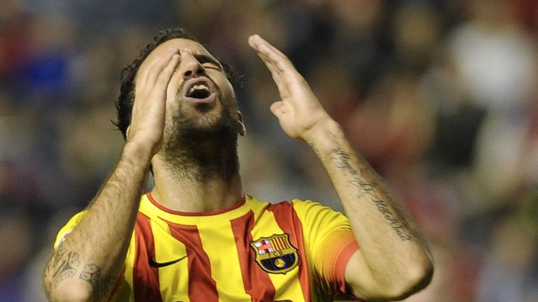 Cesc Fabregas reacts to another missed chance for the visitors