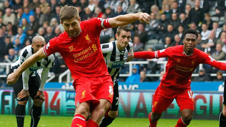 Steven Gerrard: Scores his 100th Premier League goal