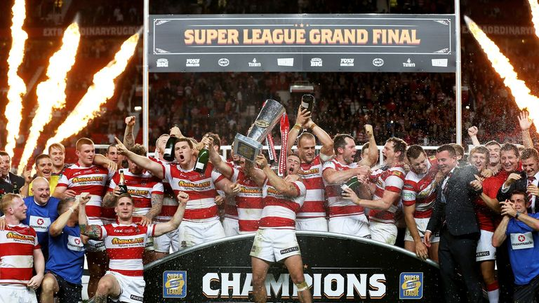 Wigan Warriors celebrate their Super League title success