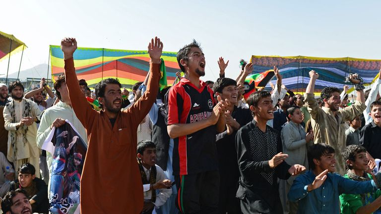 Afghanistan supporters in Kabul watched the victory on a big screen