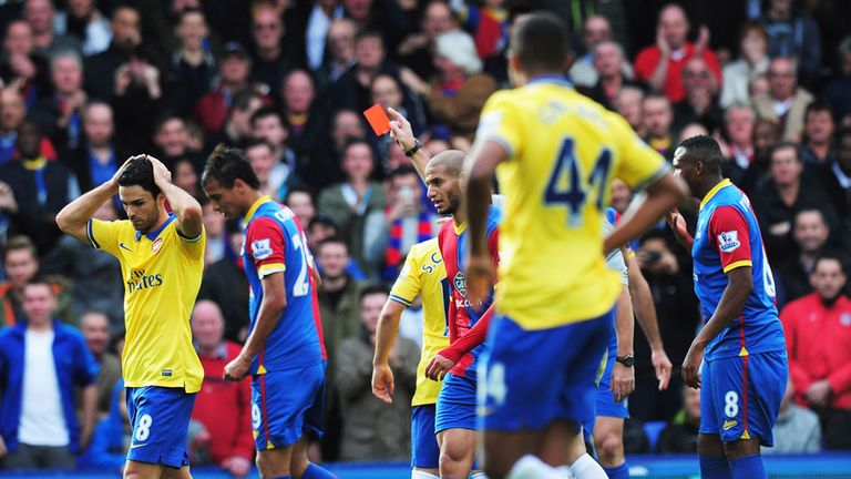 Mikel Arteta: Sent off in Arsenal's 2-0 win at Crystal Palace