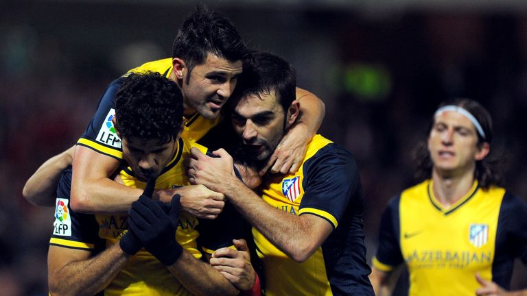 Atletico Madrid scorers Diego Costa and David Villa celebrate