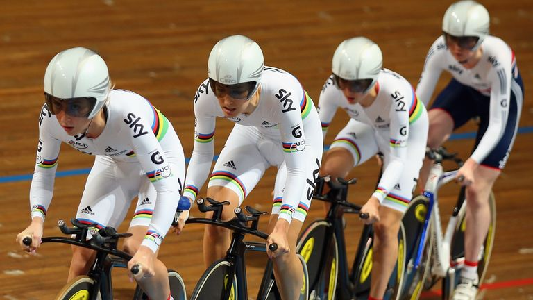 Britain's women's team pursuit quartet won European gold in world-record time