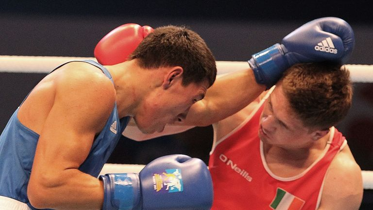 Jason Quigley (R): And Zhanibek Alimkhanuly (L) met in the World Championships middleweight final and now share top spot in the world rankings
