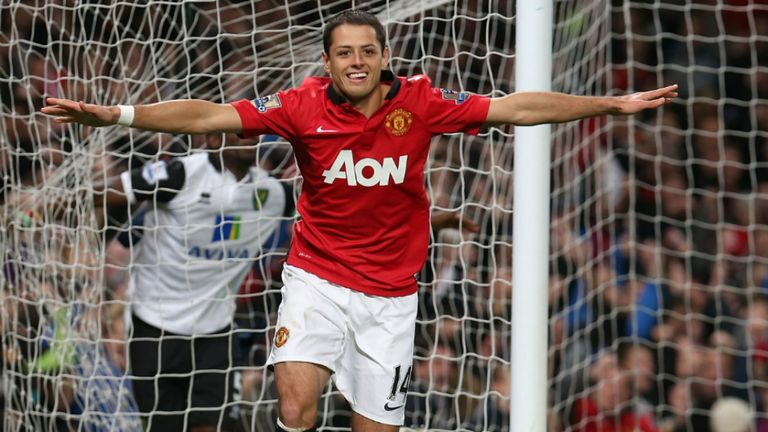 Javier Hernandez celebrates his second goal of the night against Norwich