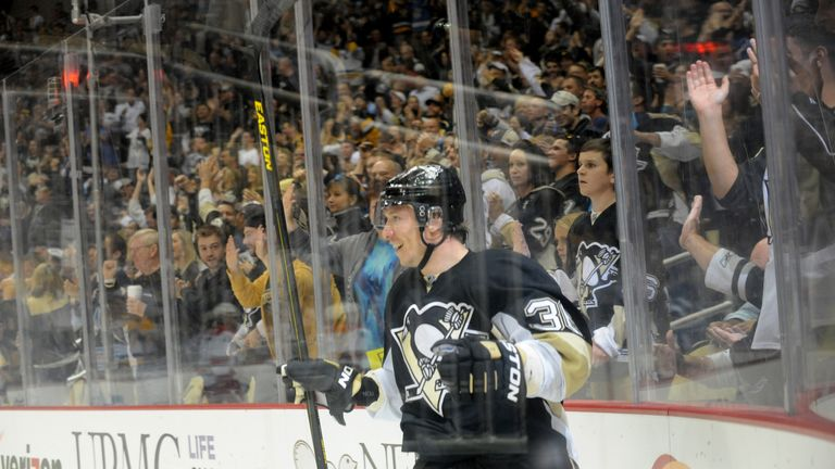 Jussi Jokinen celebrates his hat-trick for Pittsburgh Penguins