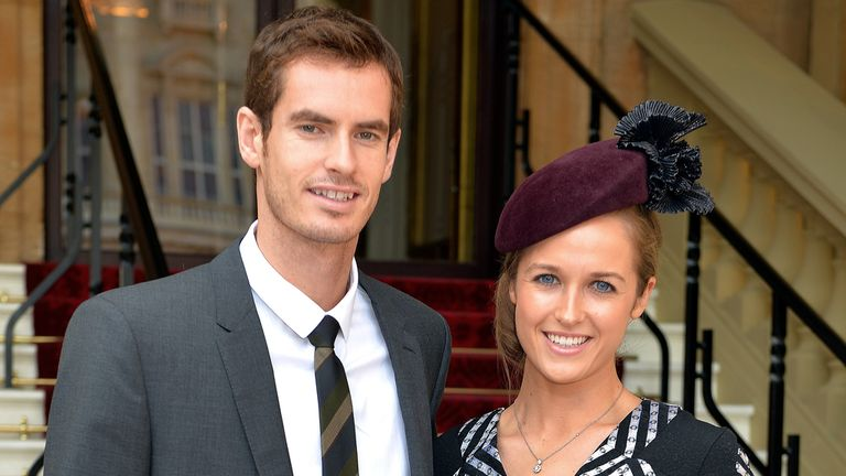Andy Murray with girlfriend Kim Sears before collecting his OBE