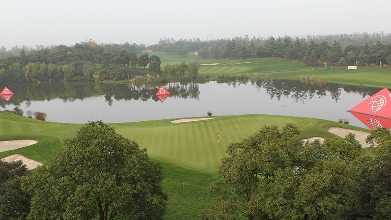 An overhead view of the second hole at the Sheshan InternationalGolf Club in Shanghai, China