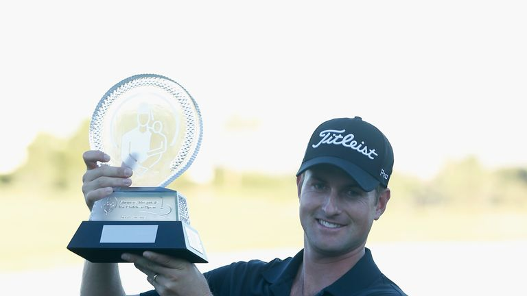 Webb Simpson: Celebrates his six-stroke victory at the Shriners Hospitals for Children Open