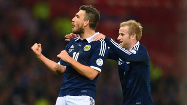 Robert Snodgrass celebrates during Scotland's 2-0 win over Croatia